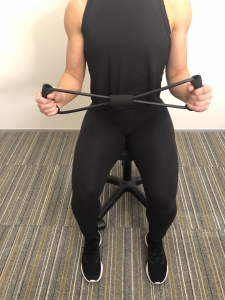 shoulder pain exercise band - start position