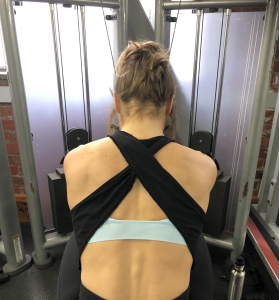 seated shoulder pain exercise - shoulder protraction