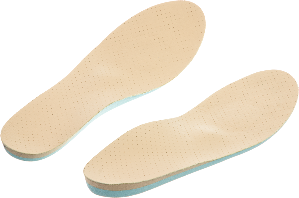 Image illustrates a pair of custom orthotics that are probably far too flexible to help with back pain, knee pain or hip pain.